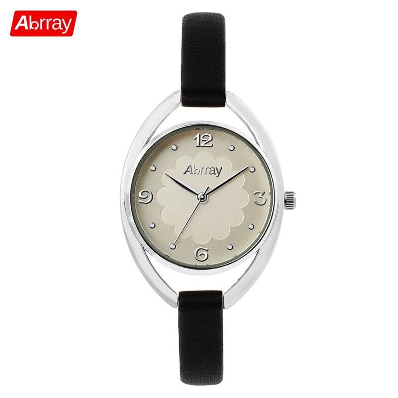 Abrray utsökta kvinnoklocka 3ATM vattentäta klockor Lady Quartz Armbandsur med PU Röd / Vit / Svart / Brunt Färgband