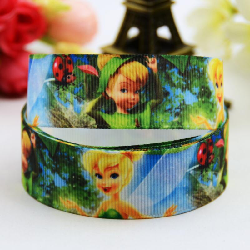 7/8 (22mm) Tinker Bell Cartoon Character printed Grosgrain Ribbon party decoration satin ribbons OEM 10 Yards X-00707