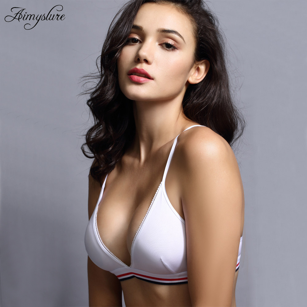 3a81c490b80 Sexy Summer Bralette Plunge Bras Wire Free Seamless Triangle Bra Push up  Lingerie Soft Thin Cup