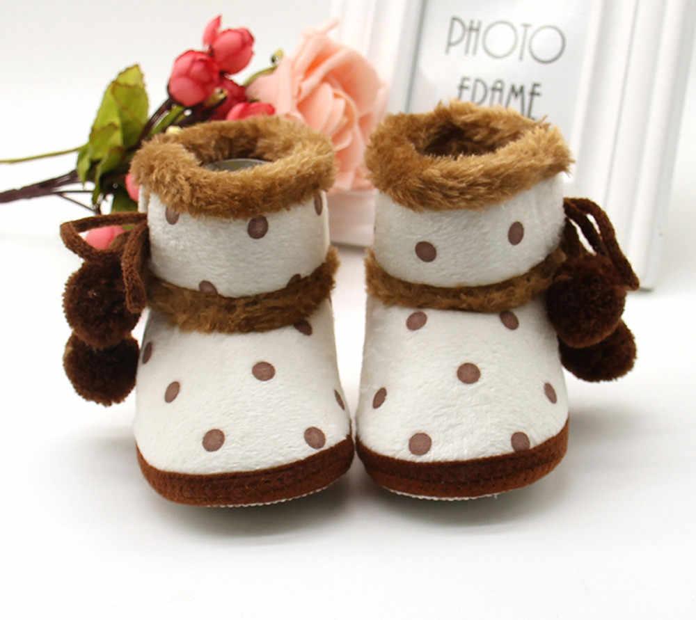 תינוקות תינוק בנות רך נעלי שלג מגפיים לפעוטות הילדה דוט הדפסת אופנה התחממות נעלי בנות חורף מגפיים חמוד עם קשת כדור