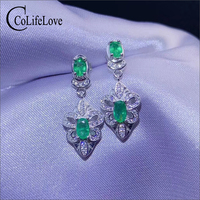 CoLife Jewelry vintage emerald dangler for party natural emerald silver drop earrings 925 silver emerald eardrop gift for girl