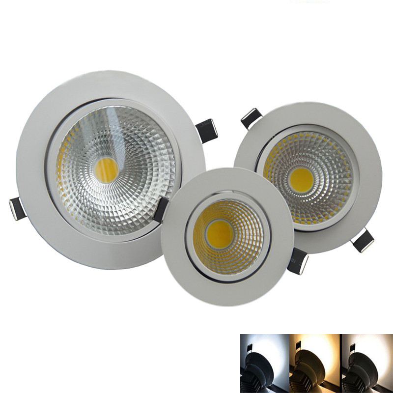10X Dimmable Led downlight light  3W 5W 7W 12W 85-265V recessed Lights COB Downlight Indoor Lighting LED Cabinet Light