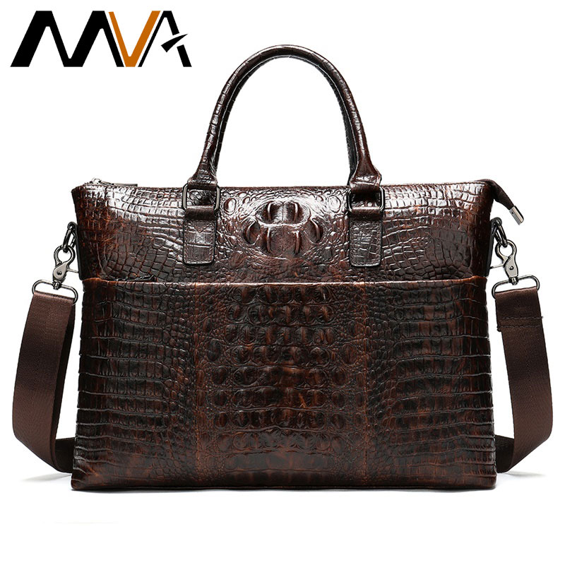 MVA Briefcase Men's Genuine Leather Bag Crocodile Men's Bag Leather Laptop Bag Business Office Bags For Men Handbag 14 Inch 8854