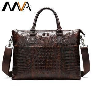 Men Genuine Leather Briefcase Male Laptop Bags Mens Crossbody Bag Crocodile Pattern 5555coffee