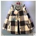 Estilo lolita xadrez single-breasted meninas de inverno casacos de lã 2017 roupa dos miúdos para a menina jackts e casacos crianças clothing outfits
