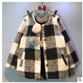 Lolita style Single-breasted plaid girls wool winter coats 2017 kids clothes for girl jackts and coats children clothing outfits