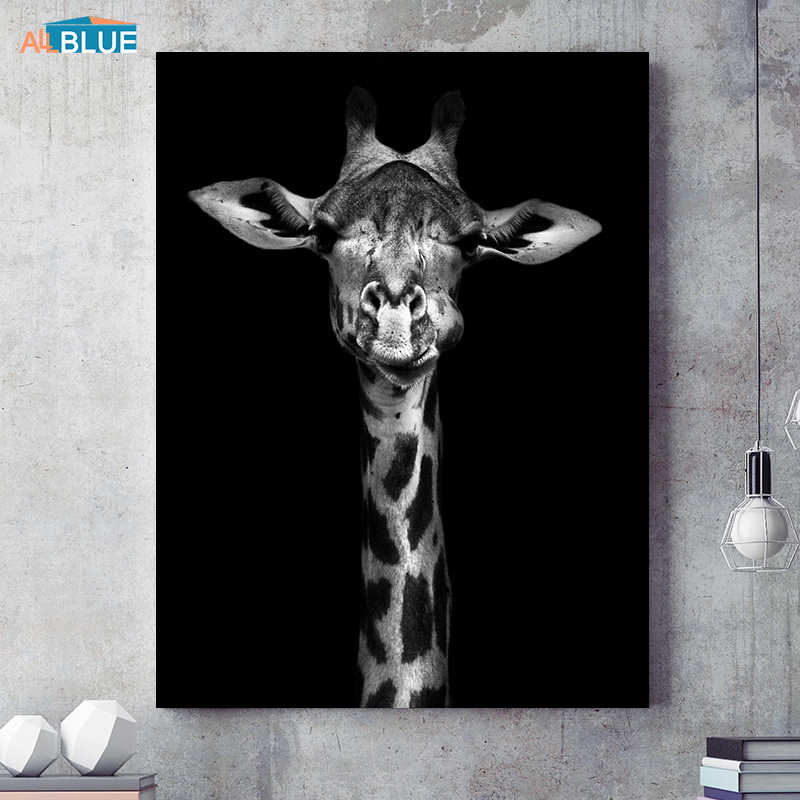 Canvas Art Animal Posters And Prints Black and White Giraffe Elephant Zebra Painting For Living Room Wall Art Decorative Picture