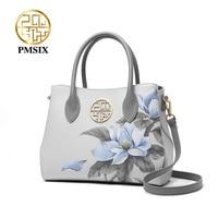 PMSIX Fashion Flower printing Cow Leather Women Handbag High Capacity Ladies Shoulder Bag Brand Elegant Female Totes 2020