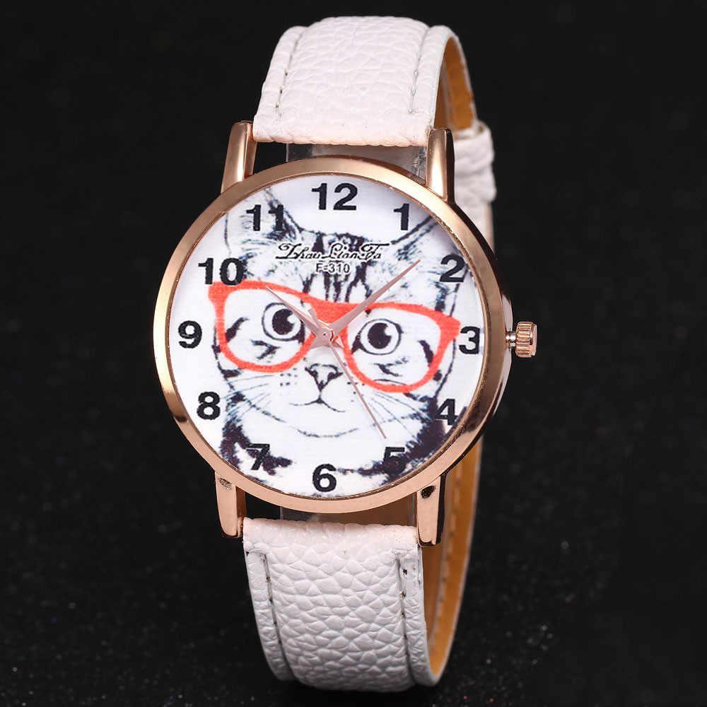 Mulheres da moda Relógios de Luxo Da Marca Gato Bonito Round Dial de Pulso de Quartzo Relógio De Couro Da Marca Senhoras Relógios Clcok Montre Femme # F
