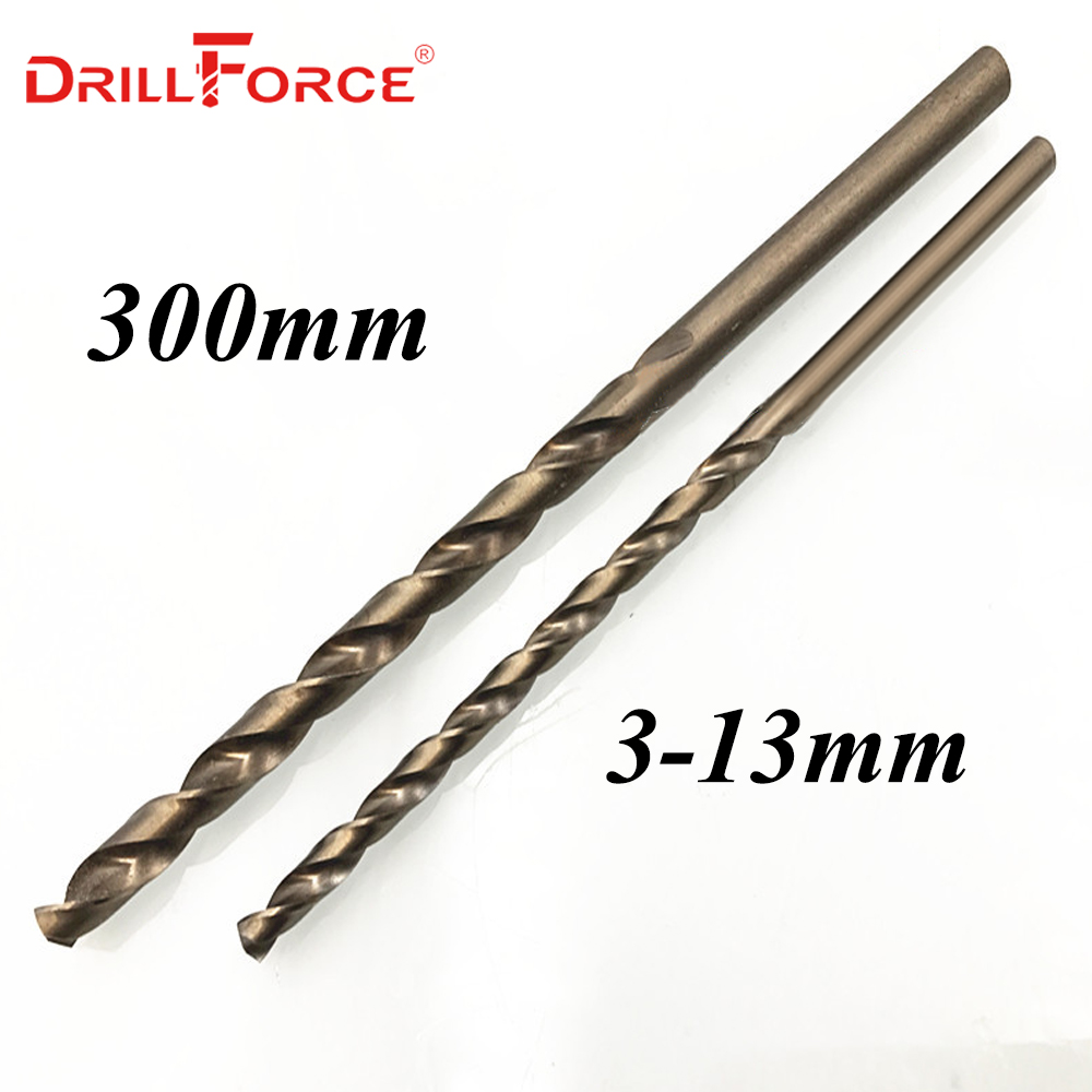 Drillforce Tools 1PC 3mm-13mmx300mm OAL HSSCO 5% Cobalt M35 Long Twist Drill Bits For Stainless Steel Alloy Steel & Cast Iron