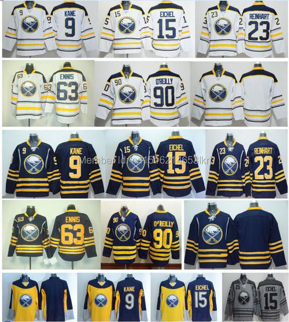 official photos 21ec3 2966e US $29.77 |Men's Cheap Buffalo Sabres #15 Jack Eichel Jersey 9 Evander Kane  23 Sam Reinhart 63 Tyler Ennis 90 Ryan O'Reilly Hockey Jerseys-in Hockey ...