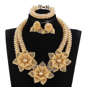 Indian African Nigerian Wedding Necklace Set New Champagne Gold Chunky Flowers Crystal Bridal Jewelry Sets Free Shipping ABH687