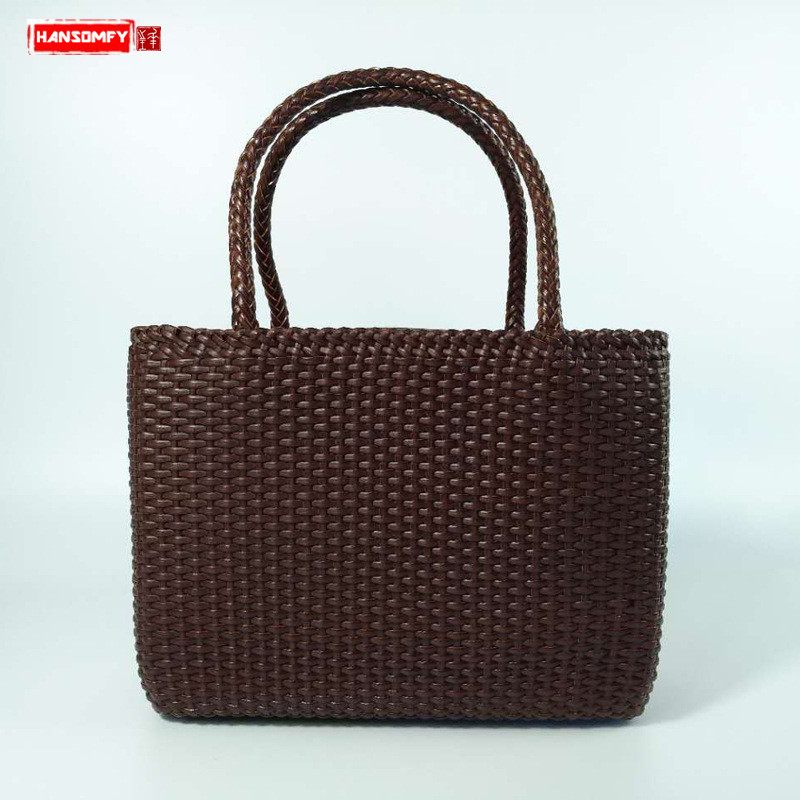 New pure hand-woven Women handbags first layer leather luxury fashion handbag genuine leather bag high-end female shoulder bags women new handbags retro genuine leather handbag shoulder bag head layer cowhide messenger bags female pure hand made bags