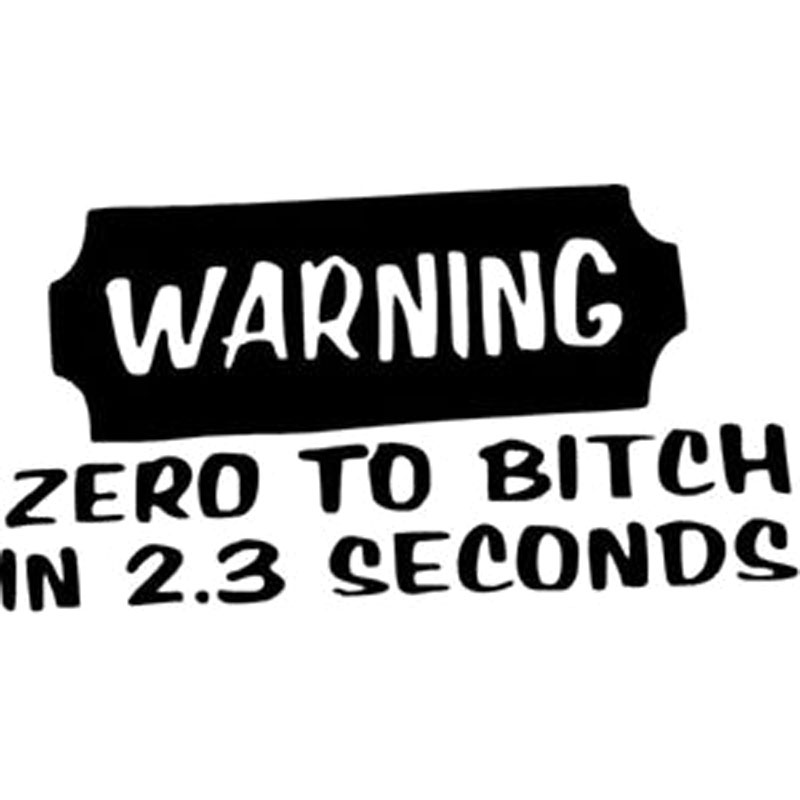 15X8.2CM WARNING ZERO TO BITCH IN 2.3 SECONDS Originality Vinyl Decal Car Sticker S8-0470