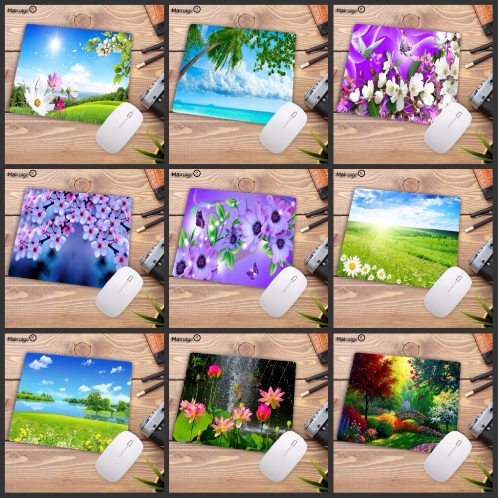Mairuige Natural Scenery Flower Tree Durable Rubber Mouse Mat Pad Size For 18X22CM  Gaming Mousepads Big Promotion For Russia