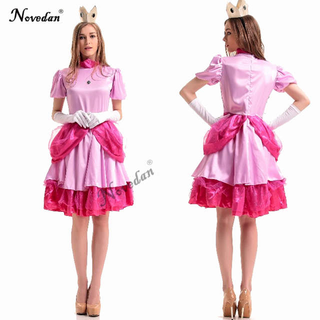 Halloween Bridesmaid Costumes.Us 17 09 5 Off Adult Princess Peach Halloween Costume Women Super Mario Bros Pink Bridesmaid Dress Female Party Carnival Cosplay Costume In Movie