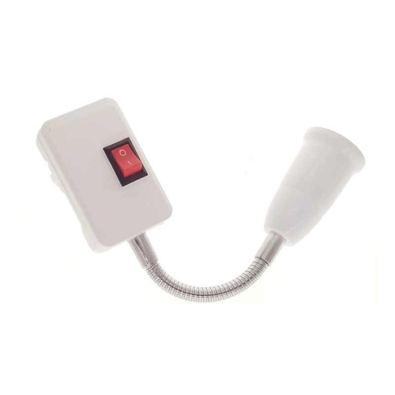 E27 LED Bulb Socket 10CM 30CM 50CM Lamp Holder elongation Flexible Extension Adapter Converter white cable EU Plug AC 110-220V
