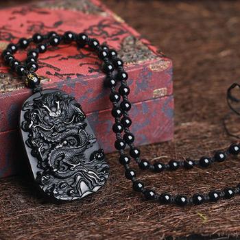 107a4de545b6 Venta al por mayor de regalos de negro chino Natural obsidiana tallada  dragón negro obsidiana COLLAR COLGANTE de la joyería de los hombres el  envío de la ...