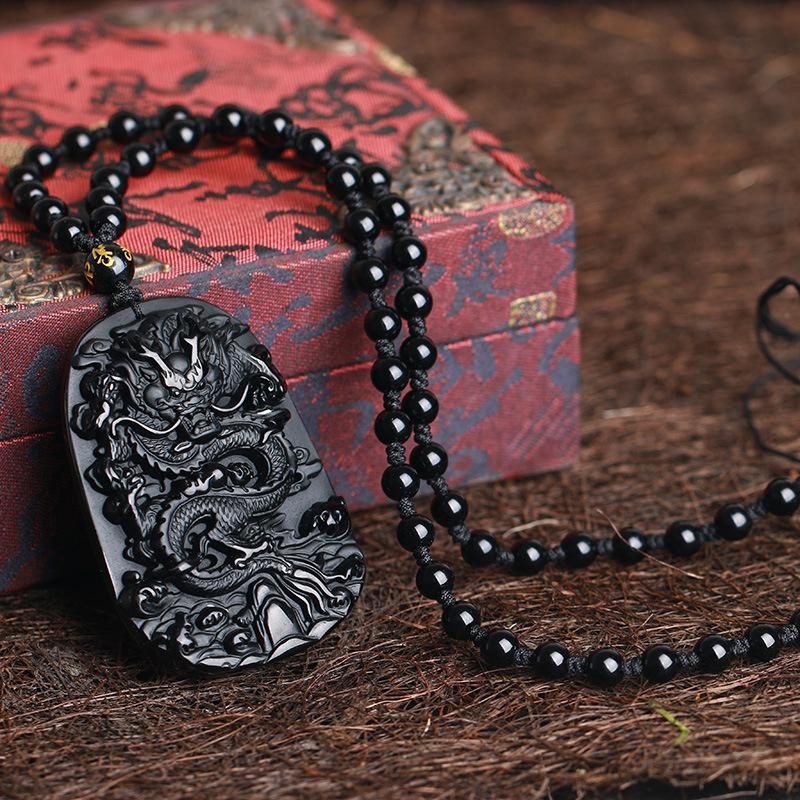 Wholesale Gifts carving Chinese black A Natural Obsidian Carved Dragon Black Obsidian Necklace Pendant Men Jewelry Drop Shipping
