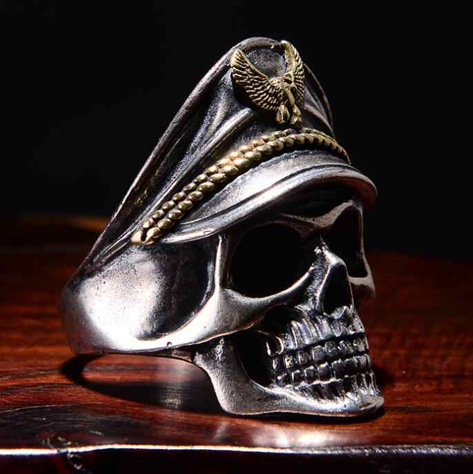 Gothic Punk Ring For Men Retro Skeleton Devil Male Ring Stainless Steel Skull Adjustable Adjustable Exaggeration