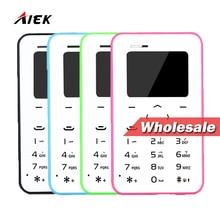 Цена оптовой продажи! 10 шт. объемной! AIEK/aeku Q2 мини сотовый телефон карты 4.8 мм ультра тонкий карты карман телефон low radiation PK AIEK M5