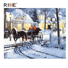 RIHE Snow Cottage Diy Painting By Numbers Abstract Carriage Oil On Canvas Cuadros Decoracion Acrylic Wall Picture Aet