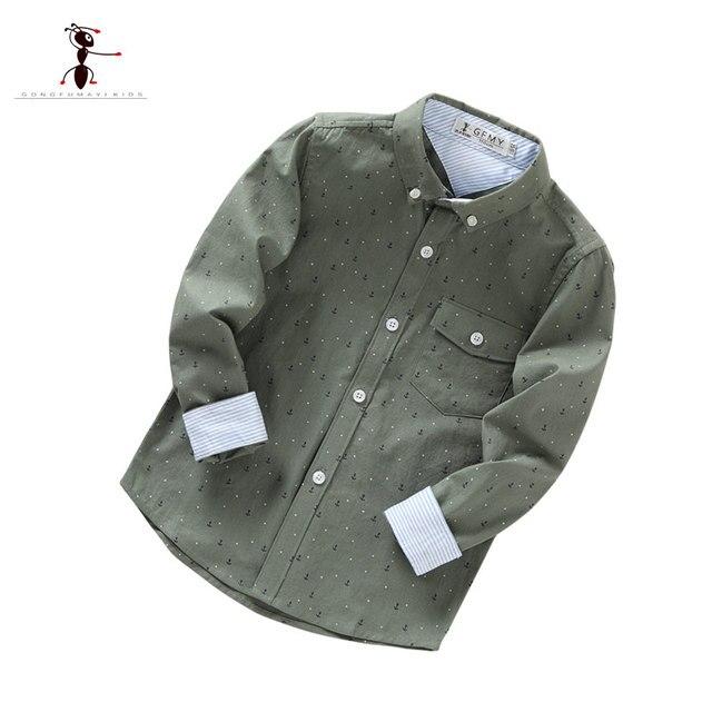 2017Full Sleeve Cotton Camisa Infantil Menino Children Blouse Camisetas Ninos Jungen Hemden Camouflage green Khaki Boy's shirt
