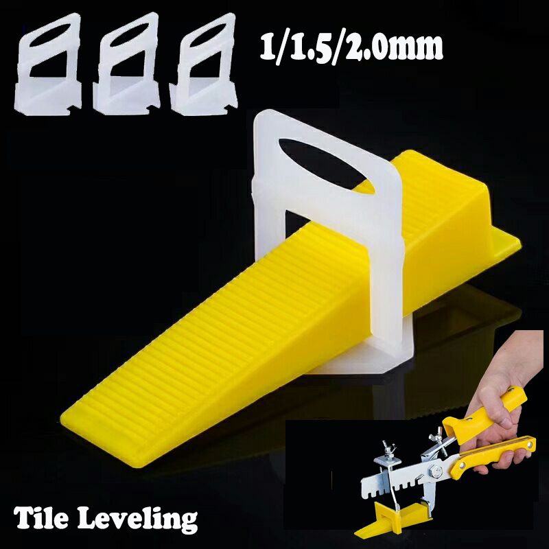 80pc Clips With 40pc Wedges Tile Spacers Leveler Tiling Ceramic Tilers Plumbers 1mm Gap Wall Floor D Type Leveling System Tool new ceramic wall floor tile leveling plier spacers lippage leveling system tool fit wedges and clips