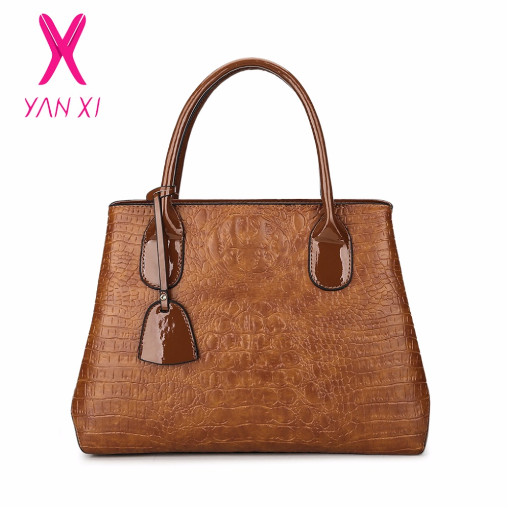YANXI marca 2017 nova moda casual brilhante jacaré totes senhoras simples bolsa de couro PU bolsa de compras de grande capacidade bolsa de ombro