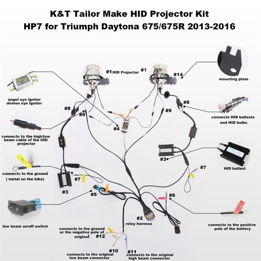 kt bi xenon projector lens suitable for triumph daytona 675 675r 2013 2014 2015 2016 angel [ 1000 x 1000 Pixel ]