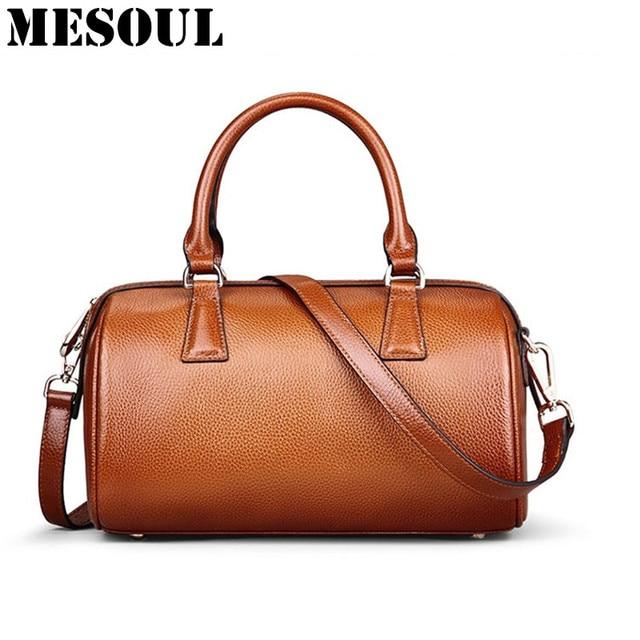 748b462bac2 Brand Designer Boston Bag Ladies Genuine Leather Handbag Women Shoulder  Bags Fashion Vintage Brown Purses Luxury Tote Bag Bolsas