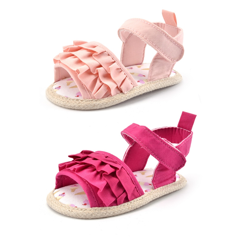 Newborn Baby Kids Girl Soft Sole Crib Anti-slip Solid Toddler Pink &Rose Red Wrinkle Shoes