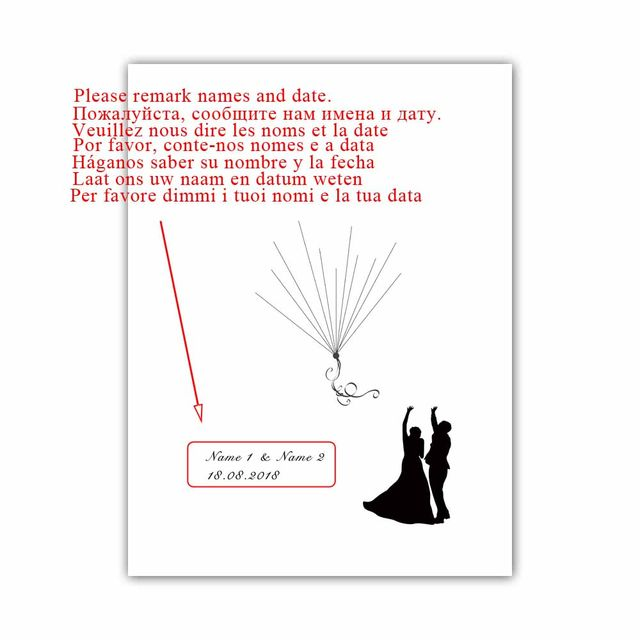 Online Bride Groom Fly The Balloons Free Custom Name Date Wedding Souvenirs Diy Fingerprint Signature Guest Book For Party Decoration Aliexpress