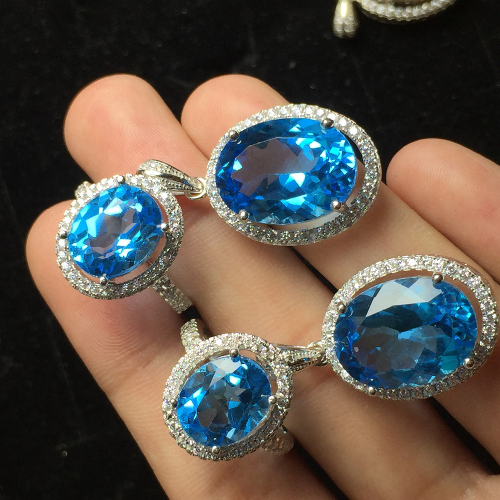 Fine Jewelry Real 925 Sterling Silver S925 Natural Blue Topaz Gemstone Female Jewelry Set for Women Fine Jewelry SetsFine Jewelry Real 925 Sterling Silver S925 Natural Blue Topaz Gemstone Female Jewelry Set for Women Fine Jewelry Sets