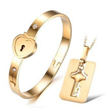 Couple Jewelry Sets Stainless Steel Love Heart Lock Bracelets Bangles Key Pendant Necklace Couples