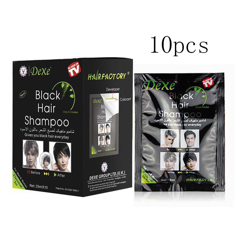 10pcs/lot Dexe Black Hair Shampoo Only 5 Minutes Grey Hair Removal Dye Hair Coloring Cream Building Fibers Hair Care|Hair Color| - AliExpress