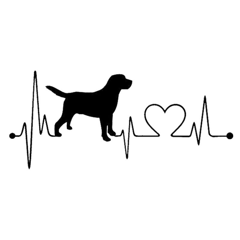 17.8*7.8CM Labrador Retriever Heartbeat Love Decal Car