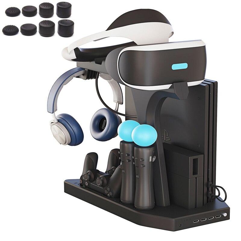 Pour PS4 VR PS4 Pro Mince PSVR PS4 Vertical Stand, Ventilateur De Refroidissement Refroidisseur, Contrôleur Chargeur et Hub De Charge Présentoir Vitrine