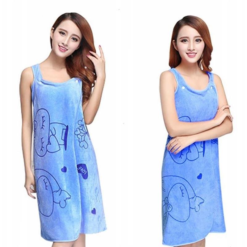 Cute Women Wearable Fast Drying Microfiber Bath Towel Bathrobe Bath Skirt USA