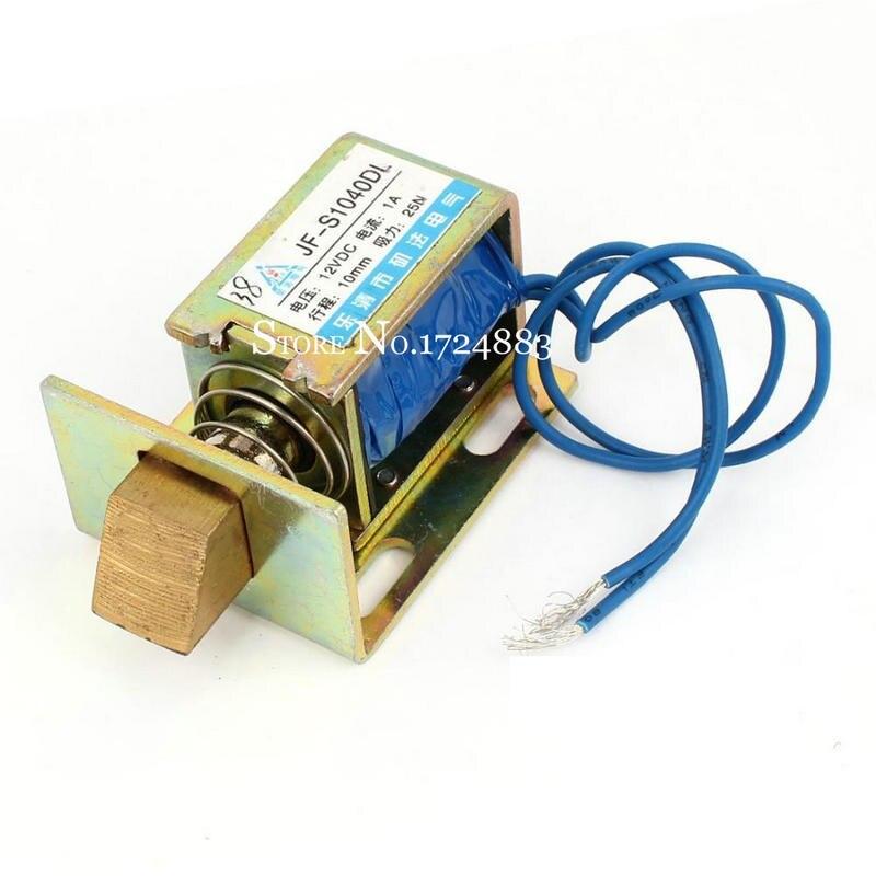 JF-S1040DL door lock Type DC12V/24V Force 25N  Linear Solenoid Electromagnet travel 10mm electric magnet Lock 24v pull hold release 10mm stroke 6 3kg force electromagnet solenoid actuator