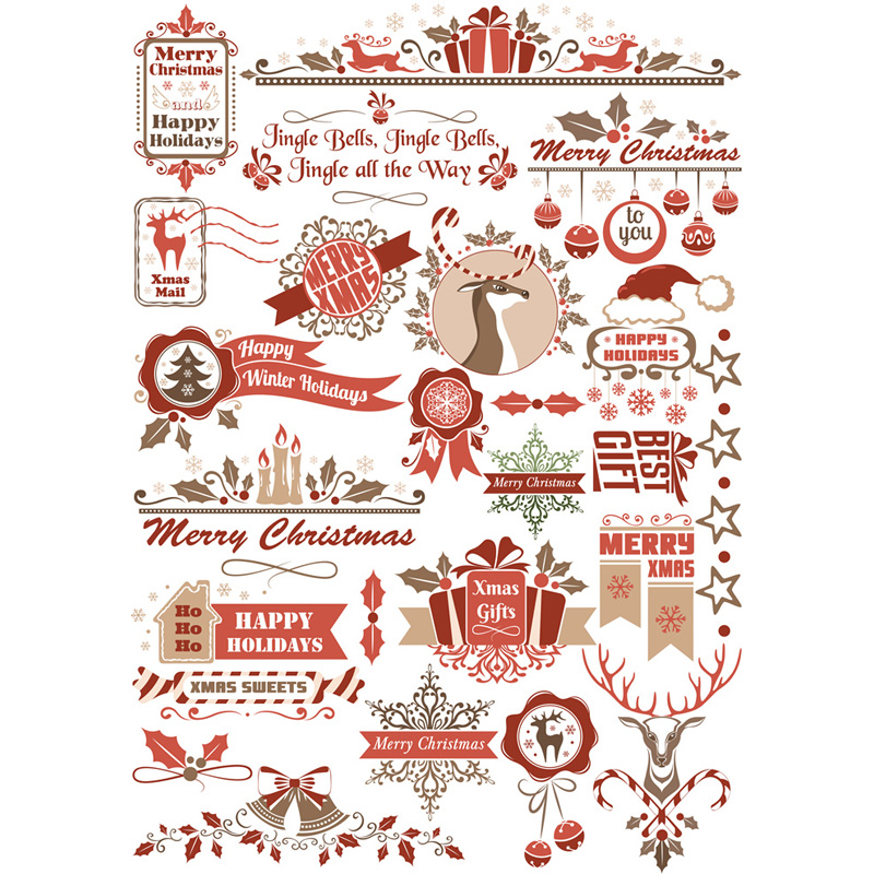 2 шт, рождественские олень для художественного оформления ногтей, ручная работа Uncut Водонепроницаемый эстетику стикеры канцелярские принад...