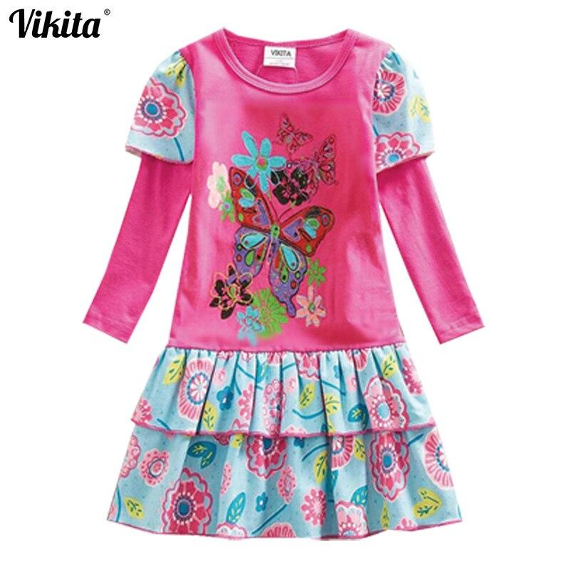 VIKITA Neue Ankunft Kinder Kleid Für Mädchen Rosa Grau Cartoon ...