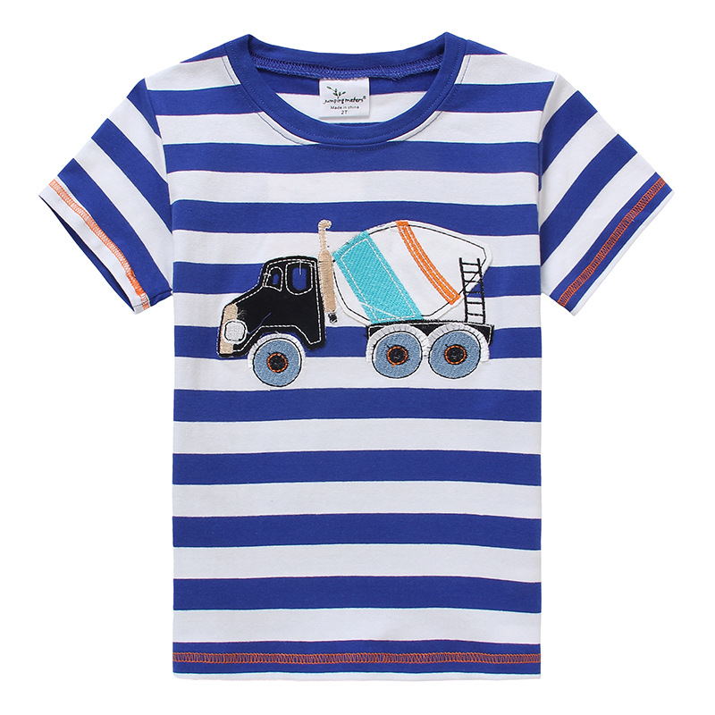 2017 new summer baby boy clothes short sleeve O-neck t shirt 100% Cotton Cement truck printing brand tee tops toddler tshirt
