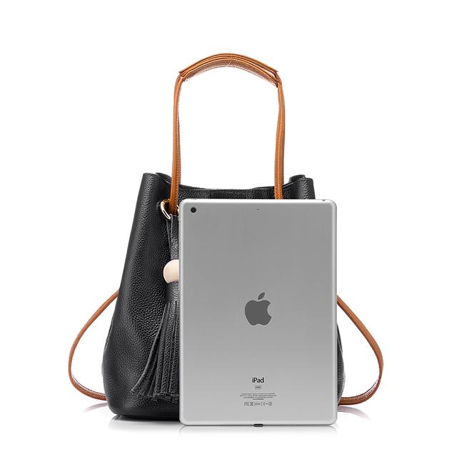 REALER new drawstring bucket bag women genuine leather handbag female solid shoulder bag with tassel brand tote bag Black
