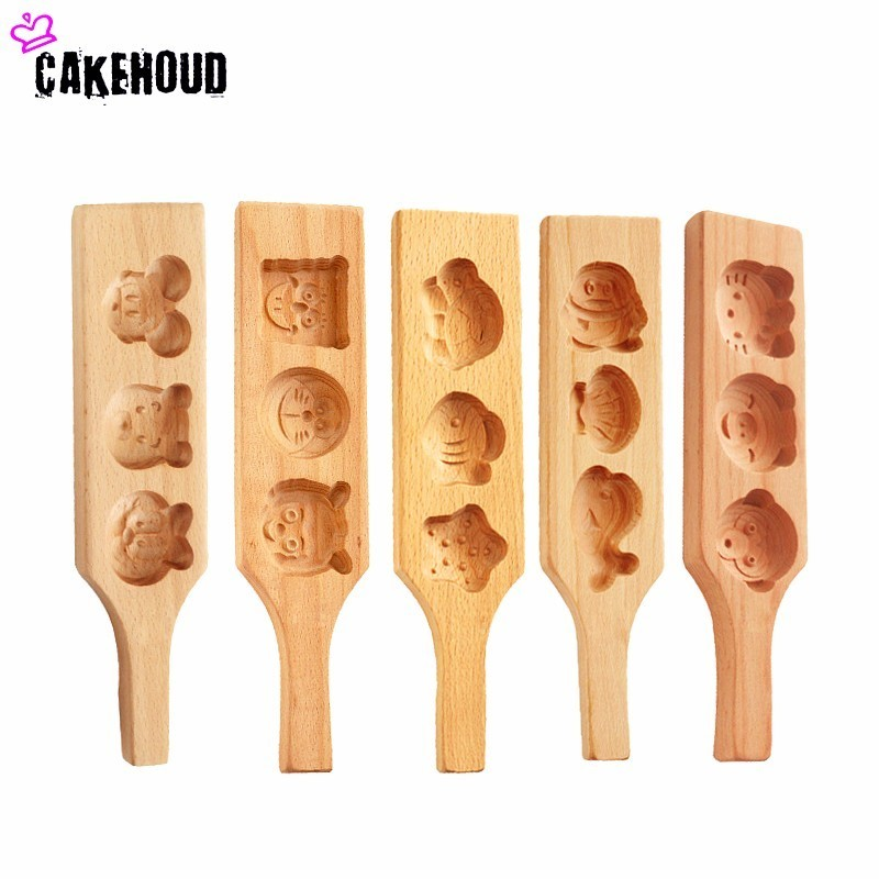 CAKEHOUD Wooden Cartoon Pasta Moon Cake Mould Baking Tool Mung Bean Cake Pumpkin Cake Steamed Bread Grinder Cake Mould image