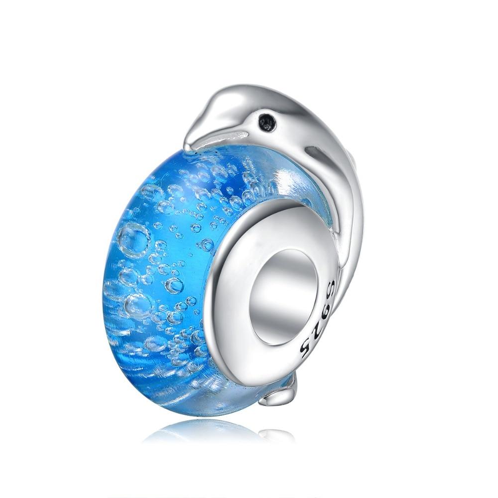 Aceworks Ocean Dolphin Charms 925 Sterling Silver Glass Beads European Bracelet Chain Neckalce Retro Ethnic Women Silver Jewelry 925 sterling silver ethnic jewelry retro simple rope chain strand bangle bracelet