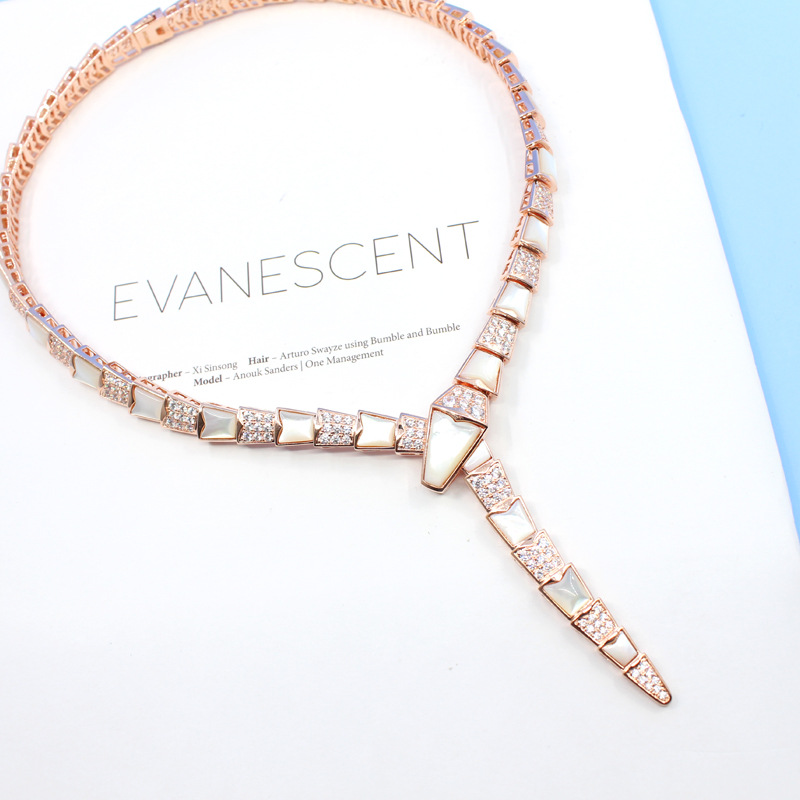 Fashion Designer Party Jewelry Snake Necklace Cubic Zirconia Mother Of Pearl Shell Snake Designer Choker Luxury Brand Jewelry Buy At The Price Of 95 00 In Aliexpress Com Imall Com