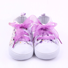 Купить с кэшбэком Baby Princess Pink Shoes for Girls Cartoon Flowers Lace Up Sneakers First Walker Newborn Boots for Kids Infant Toddler Slippers