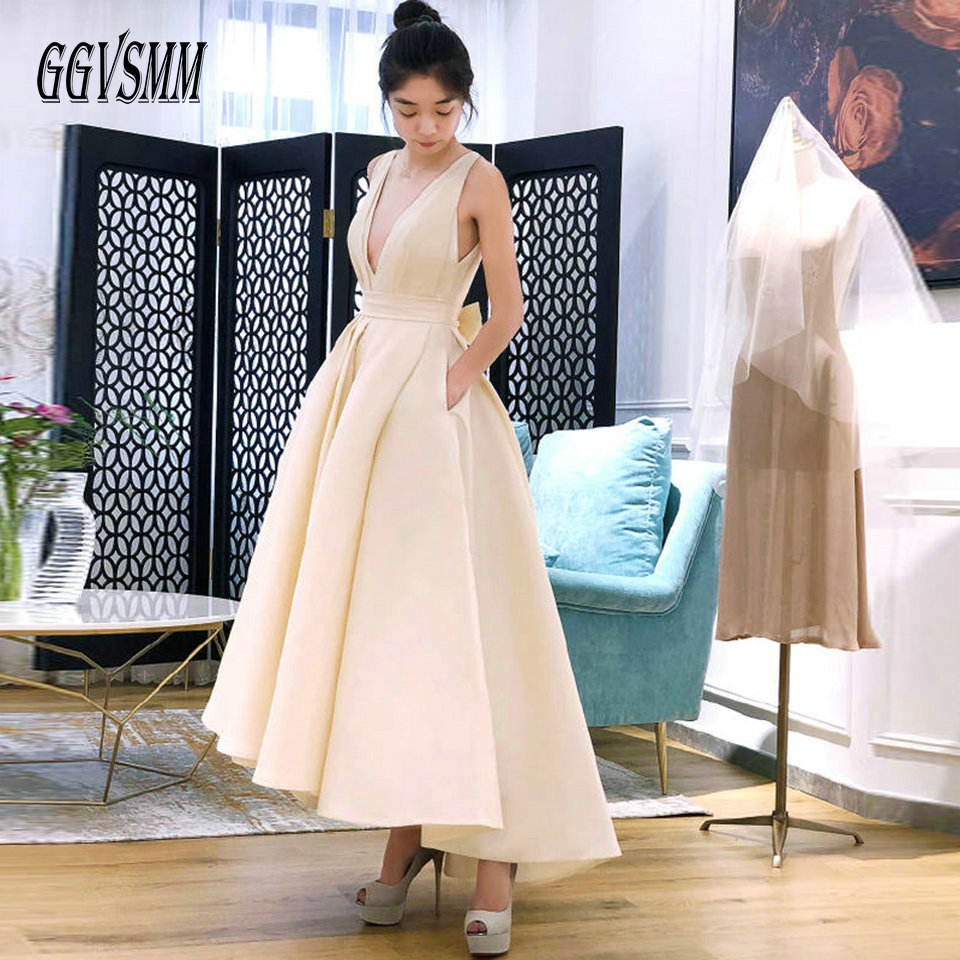 Fashion Beige Wedding Dress 2019 Sexy White Wedding Gowns Women V Neck Satin Backless Pleat Ball