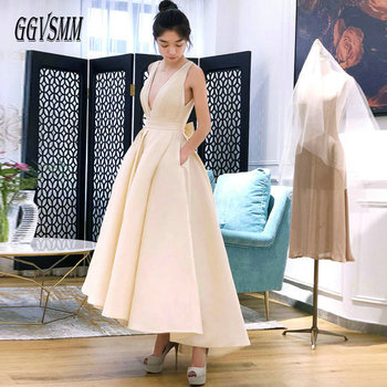 Fashion Beige Wedding Dress 2019 Sexy White Wedding Gowns Women V Neck Satin Backless Pleat Ball Gown Formal Bride Dresses Party